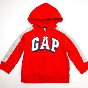 Gap Boys 2T Red Gray Full Zip spellout Hoodie